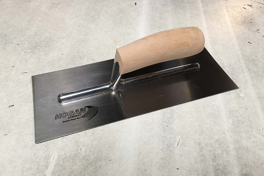 Finishing Trowel - 12 x 5 stainless steel square with wood handle
