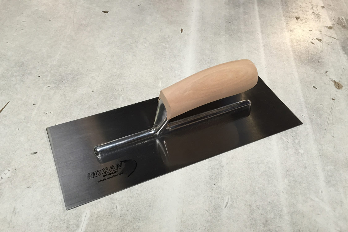 Finishing Trowel - 13 x 5 stainless steel square with wooden handle